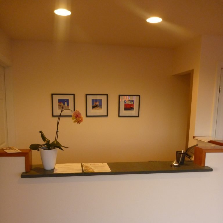 Front desk check-in, with three small paintings in background and potted flower on countertop