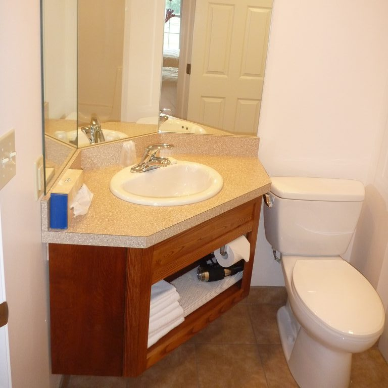 Sink, counter top, mirror and toilet located in bathroom of guest rooms